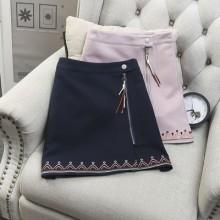 [PRE-ORDER] Women Folk-custom Tassel Zipper Embroidery Skirts