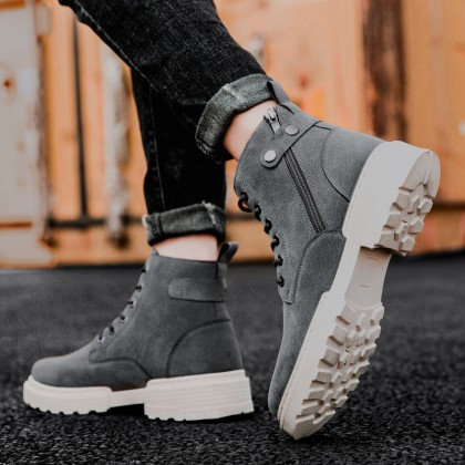 Men British Style High-top Wear-resistant Mid-top Lace-up Boots