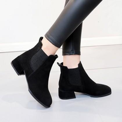 Women Thick Heel Elastic Short Boots