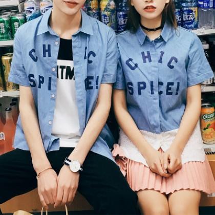 Men Couple Letters Short Sleeve T-shirt