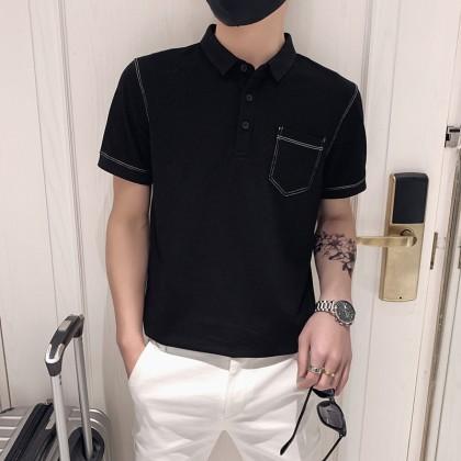 Men Clothing New Slim Social Lapel Half Sleeve Polo Shirt
