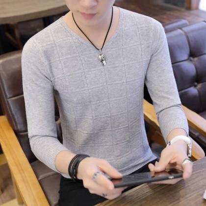 Men Clothing New V-neck Long-sleeved Sweater