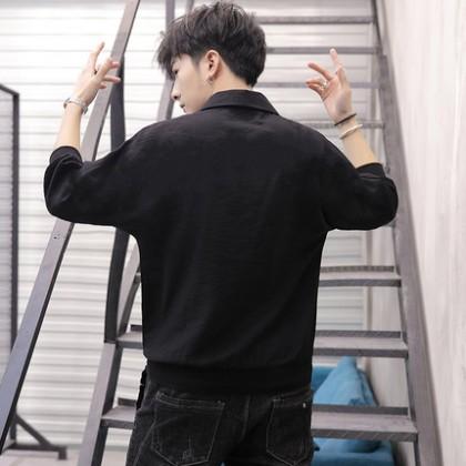 Men Clothing Korean Style Trendy Five-point Sleeve Shirt