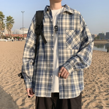 Men Clothing Spring New Plaid Long-sleeved Japanese Style Shirt