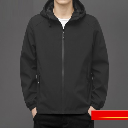 Men Clothing Casual Sports Korean Style Trendy All-match Hooded Jacket