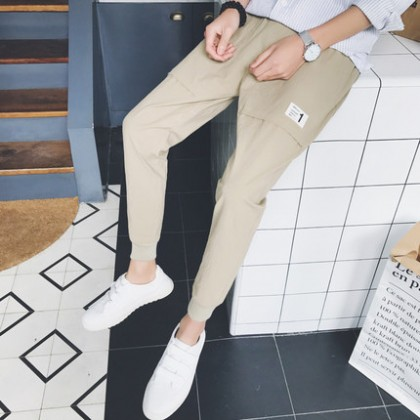 Men Clothing Summer Trend Loose Straight Nine -point Casual Pants
