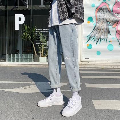 Men Clothing Autumn Nine-point Straight Jeans Wide-leg Pants