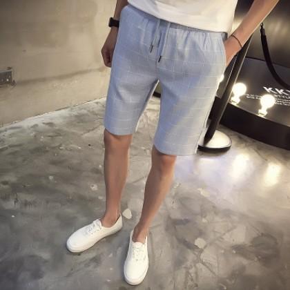 [READY STOCK] Men Casual Grid Elastic Short Pants