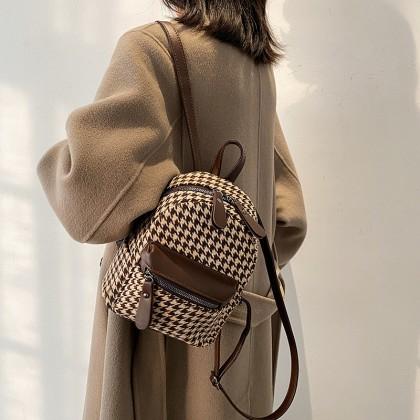 Women Campus Fashion British Style Plaid Leather Backpack