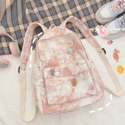 Women Fashion Retro Retro Tie-dye Canvas Backpack