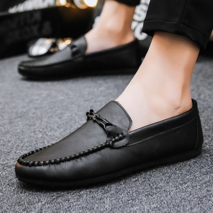 Men Fashion Casual Leather All-match Leather Peas Shoes