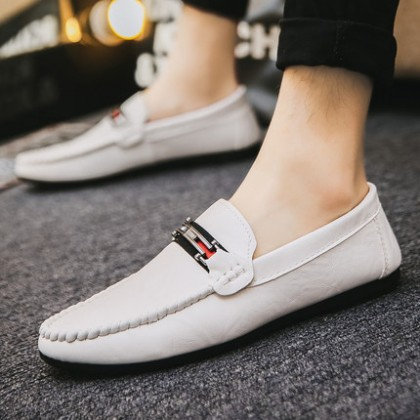 Men Fashion Leather All-match Leather Casual Peas Shoes
