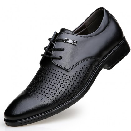 Men Fashion Breathable Casual Summer Hollow Leather Shoes