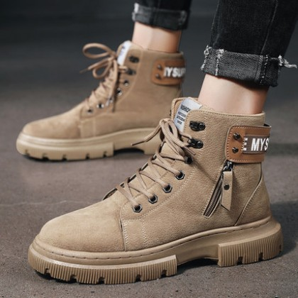 Men Fashion Lace-up High-top All-match Casual Boots