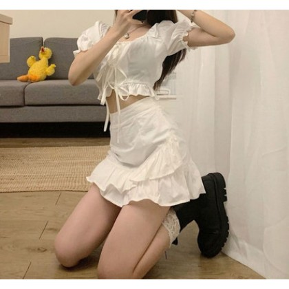 Women Clothing Summer New Korean Style Short Top + Ruffle Skirt