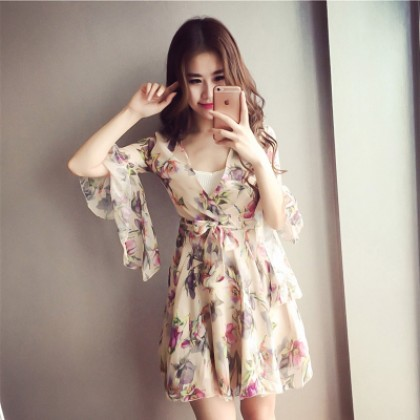 Women Flower Flora Chiffon Bohemia Dress