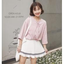 [PRE-ORDER] Women Cute Pleated Stripe Mini Skirt
