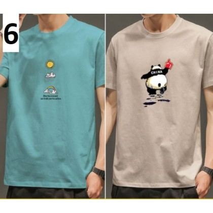 Men Clothing New Short-Sleeved T-Shirt Pure Cotton