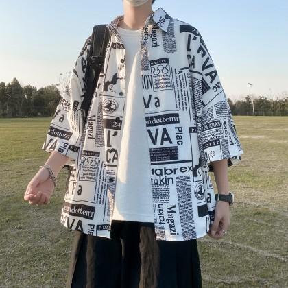 Men Clothing Casual Loose Summer Fashion Short Sleeve