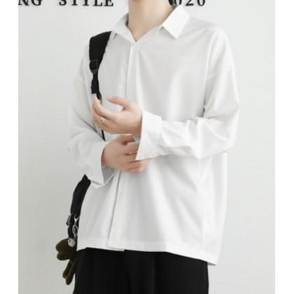 Men Clothing Casual Loose Summer Plain Long Sleeve