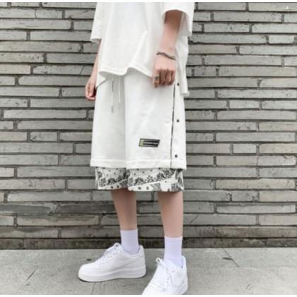 Men Clothing Drawstring Elastic Waist Breathable loose Short