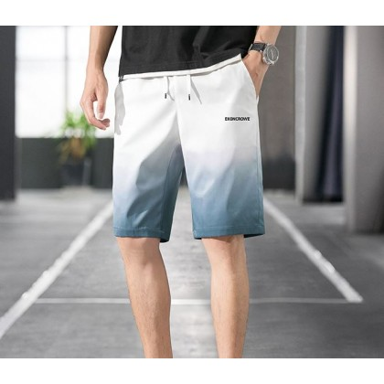 Men Clothing Dual Color Ice Silk Thin Straight Casual Short
