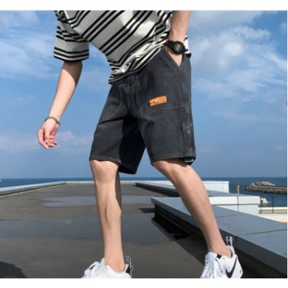 Men Clothing Casual Loose Denim Streetwear Shorts Jeans
