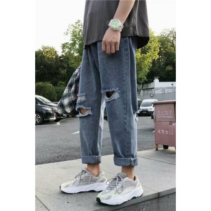Men Clothing Denim Casual Straight Ripped Jeans Pants