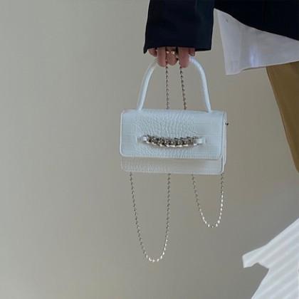 Women Bags Mini Crocodile Pattern Chain Sling Messenger Bag