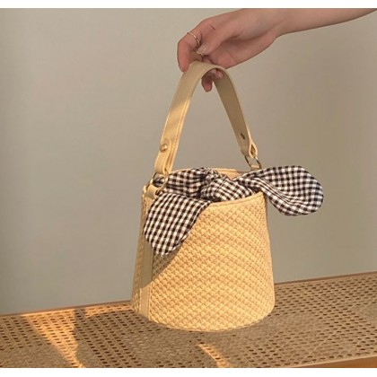 Women Bags Fashionable Bucket Straw Woven Hand and Shoulder Bag
