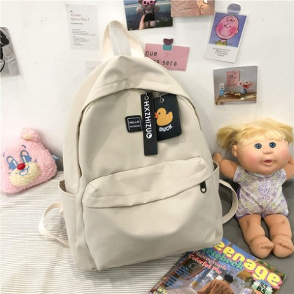 Women Bags Plain Color College Student Backpack for Girls