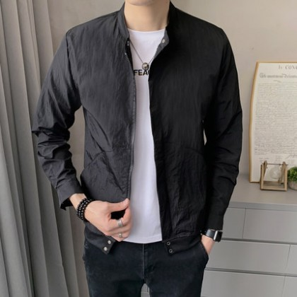 Men Clothing Utra Thin Casual Ice Silk Outdoor Skin Jacket