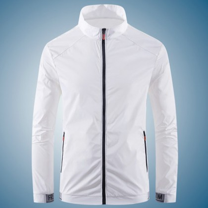 Men Clothing Stand-Up Collar Ice Silk Breathable Jacket