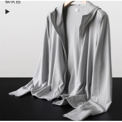 Men Clothing Ultra-thin Hooded Sweater Ice Silk Sun Protection