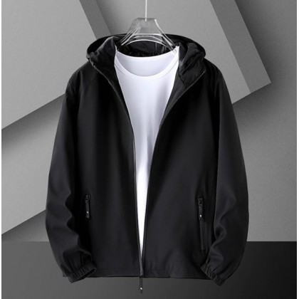 Men Clothing Casual Loose Sports All-match Hooded Jacket