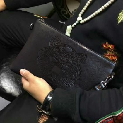 Men Soft PU Leather Tiger Handbag
