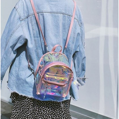 Women Bags Candy Color Laser Transparent Holographic Backpack Satchel