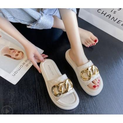 Women Fashion Flat Bottom Soft Three Ring Buckle Slide Slippers