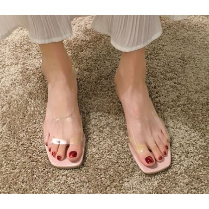 Women Fashion Trendy Mid Heel Transparent Strap Slippers