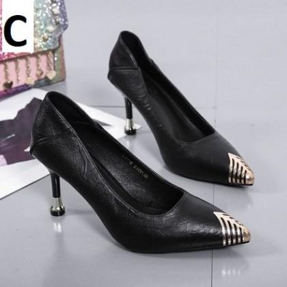 Women Fashion Soft Leather Comfortable High Heels Stiletto
