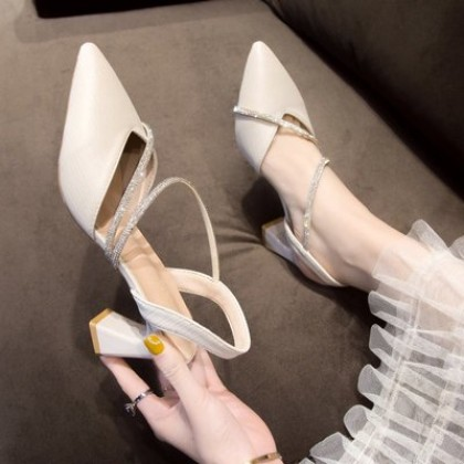 Women Fashion Fairy Style Thick Heel Rhinestone Satin High Heels