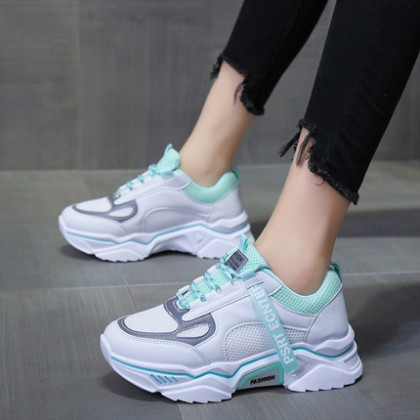 Women Fashion Reflective Upper Shoes Height-increasing Running Sneakers