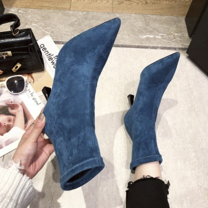 Women Fashion Pointed Mid-Heel Suede Breathable Boots