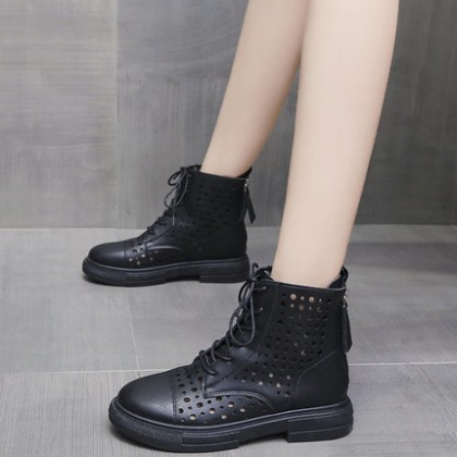 Women Fashion Single Boots Hole Thick-soled Martin Short Boots