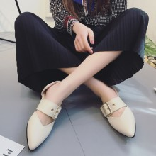 [PRE-ORDER] Women England Belt Retro Pointed Head Flats
