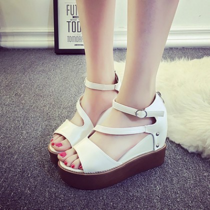 [READY STOCK] Women Fish Mouth Buckle Wedges Heels Shoes