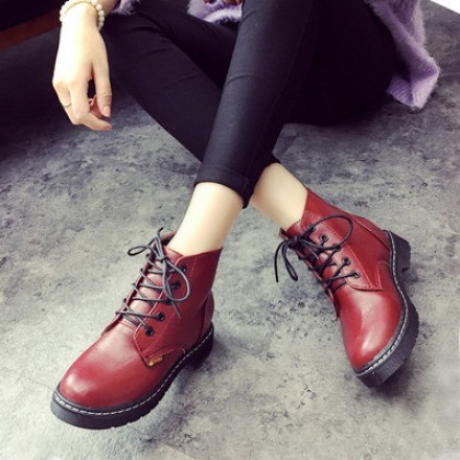 Women England Martin PU Leather Lacing Boots