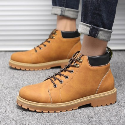 Men Fashion Martin Boots Breathable Mid-cut Tooling Shoes