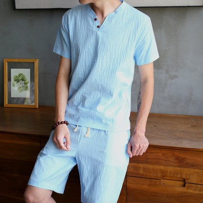 Men Clothing Chinese Style Linen Suit  Short-sleeved T-shirt