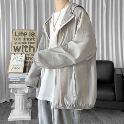 Men Clothing Hong Kong Style Breathable Top Loose Thin Jacket